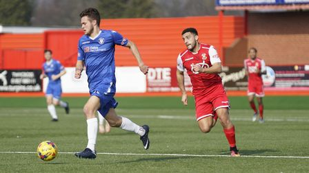 Lowestoft Town's Dylan Williams in possession at Tamworth Picture: Shirley D Whitlow