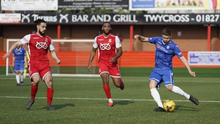 Lowestoft's Jack Wilkinson puts in a cross during the win at Tamworth Picture: Shirley D Whitlow