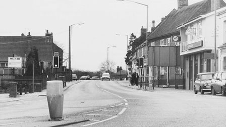 A traffic free Acle centre after the bypass opening, March 14, 1989. Photo: Archant Library