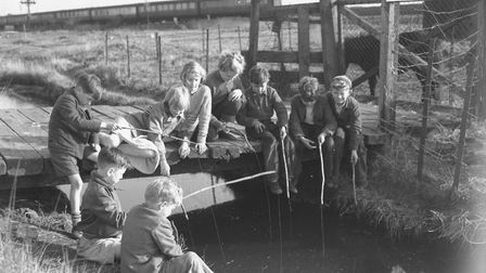 Children fishing possibly on the Acle marshes, April 1956. Photo: Archant Library
