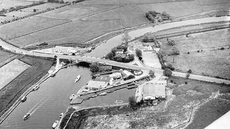 Aerial view of Acle Bridge over the River Bure, July 1962. Photo: Archant Library