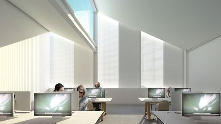 Artist's impression of a workshop in the new Digi-Tech Factory at City College Norwich. The project