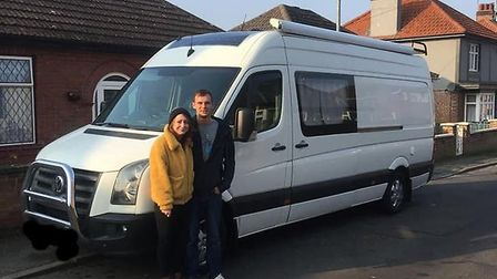 Peter Gosling and Lauren Hubbard before they set out from King's Lynn on their road trip Picture: P