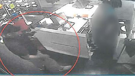 CCTV of Daniel York committing robbery at JD Sports store in King's Lynn. PIC: Norfolk Police.