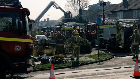 Ten fire crews were called to the house fire in Longview Close, Snettisham. Picture: Jon Clifton