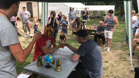 The competition was fierce at the 10th thumb wrestling championships at the Locks Inn at GeldestonPi