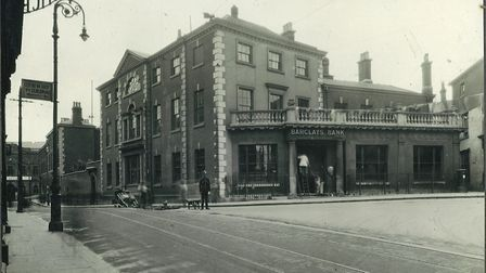 The main entrance to what was then Barclay's Bank (now Open) in Bank Plain in 1926. Pic: Archant Lib