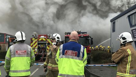 Firefighters tackling the major blaze at the Rackheath Industrial Estate. Picture: Neil Didsbury