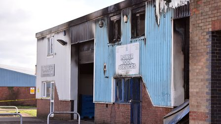 The fire damage at the Power Tool Services unit in Rackheath Industrial Estate, Norwich. PICTURE: Ja
