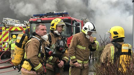Dozens of firefighters tackled a large blaze at Rackheath Industrial Estate on Sunday morning. Pictu