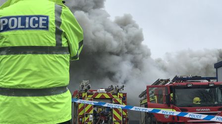 Locals were urged to close their windows and doors during the blaze at Rackheath Industrial Estate.