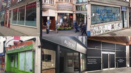 Some of the empty restaurants in Norwich. Photos: Lauren Cope and Denise Bradley