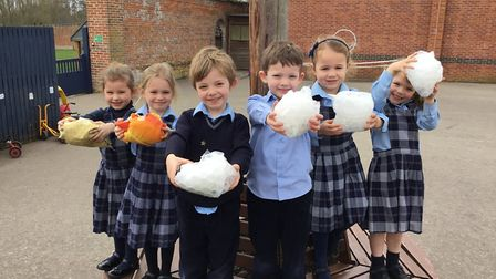 Reception children at Old Buckenham Hall wrapped 'dinosaur eggs' in protective materials before drop