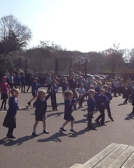 Every Friday, Brooke Primary School pupils and staff get together on the school playground and take