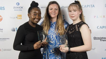 Ormiston Victory Academy students Maxine Maphosa and Leanne Hendry, pictured with Orla Ballentines,