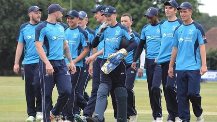 Brooke's players celebrate an excellent nine wicket win over Norwich in the opening game of the 2018