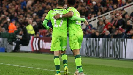 Onel Hernandez celebrates his goal with Emi Buendia at Middlesbrough. Picture: Paul Chesterton/Focus