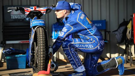 Lewis Kerr preparing his bike for a session around the Adrian Flux Arena Picture: IAN BURT PHOTOGRAP