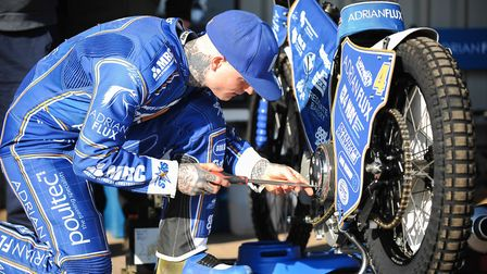 Lewis Kerr getting his bike ready for some laps Picture: IAN BURT PHOTOGRAPHY