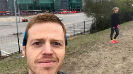 Mark Armstrong in front of Old Trafford ahead of the Greater Manchester Marathon Picture: Mark Armst