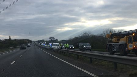 A crash on the A47 is causing tail backs and delays for drivers this morning. Picture: Staff