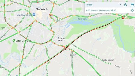 The EDP24 traffic map showing tailbacks on the A47 westbound. Pictrue: edp24 travel map
