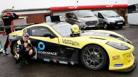 Harry King celebrating victory in race two of the Ginetta SuperCup Championship at Brands Hatch Pict