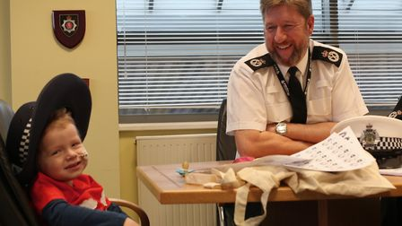 Harry Deeba had the chance to meet the chief of police Simon Bailey. Picture: Norfolk Police