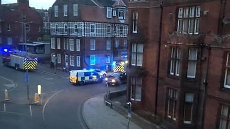 Emergency services were called to a kitchen fire in a flat in Cromer. Picture: Dominika Dabrowska.
