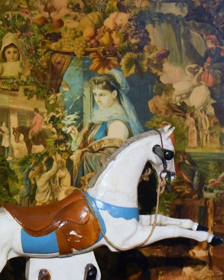 A screen and rocking horse from a nursery room at Strangers' Hall. Picture: DENISE BRADLEY