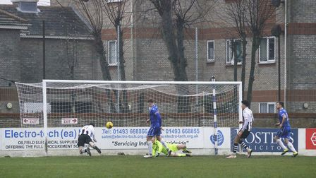 Tom McGlinchey scoring the second of Coalville's goals Picture: Shirley D Whitlow