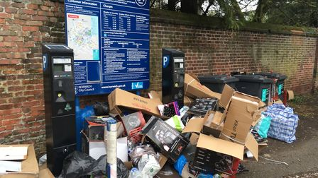 Piles of rubbish left at St Crispins Car Park. Pic: Archant.