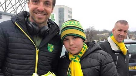 Norwich City goalkeeper Tim Krul met 12-year-old Jay Cassidy and gave him a signed football boot. Pi