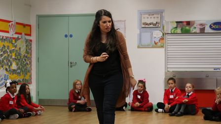 Genevieve Raghu, artistic director and founder of Into Opera, leads a workshop with pupils at St Geo