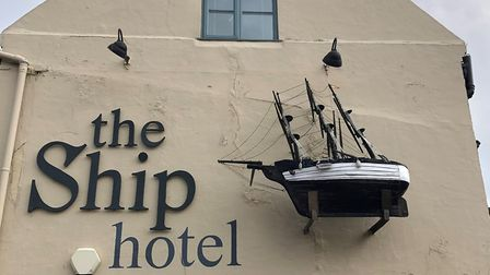 The sculpture at the Ship Hotel is in need of repair and restoration. Photo: Matthew Jones