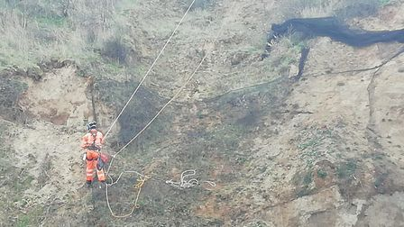 Work has started to remove netting from Bacton cliffs. Picture: NNDC