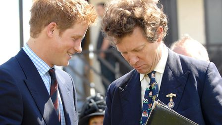 Sir Nicholas Bacon with Prince Harry at the 2008 Royal Norfolk Show. Picture: James Bass