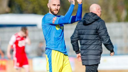 Chris Henderson acknowledges the King's Lynn Town fans after his winner against Tamworth Picture: M