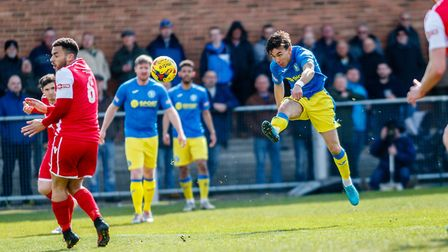 King's Lynn Town skipper fires in a shot against Tamworth Picture: Mark Hewlett Photopgraphy