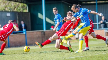 Ryan Jarvis has a shot for King's Lynn Town against Tamworth Picture: Mark Hewlett Photography