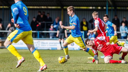 Adam Marriott in possession for King's Lynn Town during the win over Tamworth Picture: Mark Hewlett