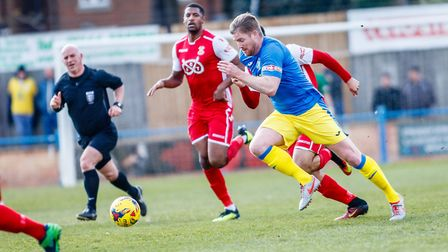Michael Gash in action for King's Lynn Town against Tamworth Picture: Mark Hewlett Photography