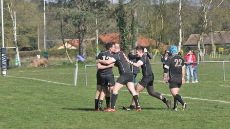 The celebrations begin as Holt begin to pull away in the second half Picture: STUART YOUNG