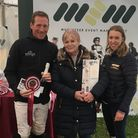 Oliver Townend with Angela Hislop, one of Ballaghmor Class's owners, and Musketeer's Event Managers'