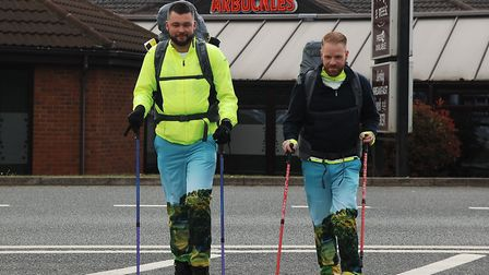 Andy Lucraft-Townley (left) and Chris Hayes setting off on their walk to Wales Picture: Chris Bisho