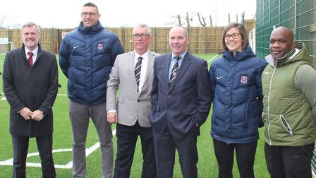 Pictured: Suffolk FA Chairman Phil Lawler, Suffolk FA Chief Executive Richard Neal, Beccles Town You