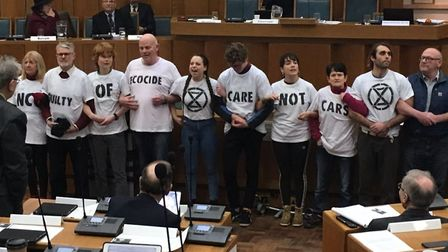 Climate change campaigners occupied Norfolk County Council chamber at its February budget meeting. P