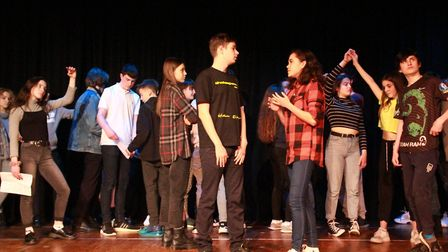Members of the Fisher Youth Theatre Group in Bungay take part in a Shakespearian theatre workshop wi
