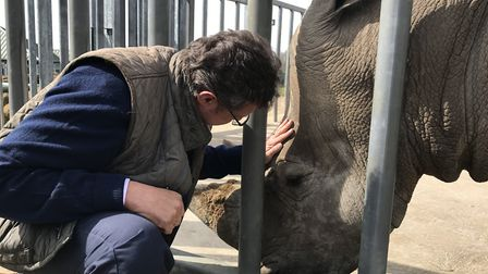Professor David Field really does talk to the animals, seen here with one of the rhino at Africa Ali