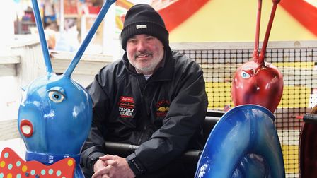 Director, Michael Cole, in one of the Joyland Snails at Great Yarmouth which are 70-years-old on Goo